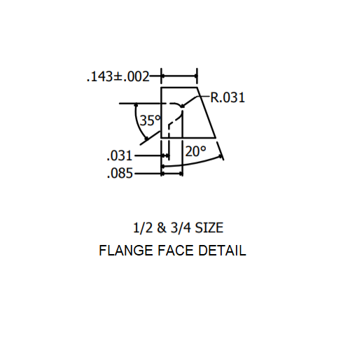 "3/4"" Flange Face Detail"