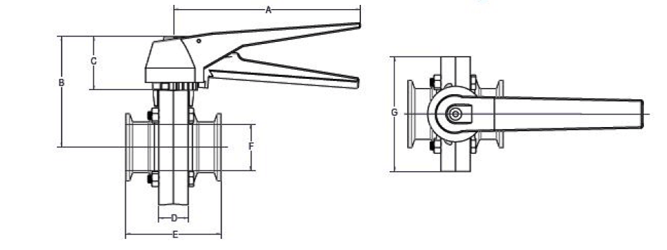 Butterfly Clamp Valve Dimensions