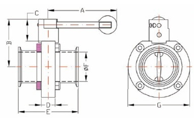 Clamp Butterfly Valve Dimensions