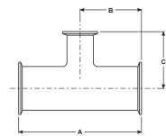 Clamp Reducing Tee Dimensions