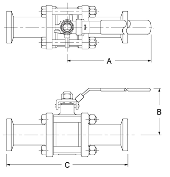 Three Piece Ball Valve Dimensions