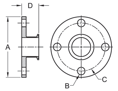 Tri-Clamp Flange Adapter Dimensions