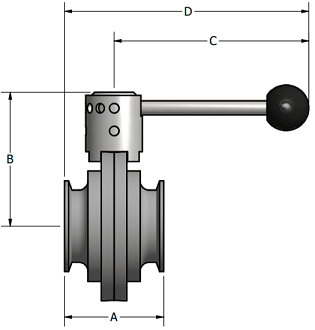 Tri-Clamp Butterfly Valve Dimensions