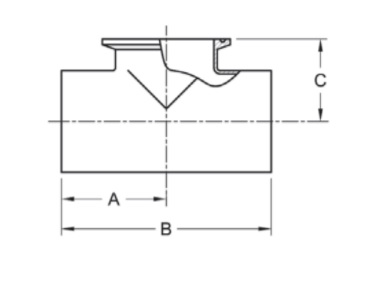 Weld x Weld x Short Outlet Clamp Tee Dimensions