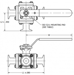 Three-Way Ball Valve Tri-Clamp Dimensions