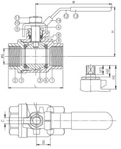 Two Piece Threaded Ball Valve Dimensions