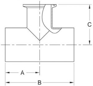 Weld Reducing Tee w/ Tri-Clamp Branch